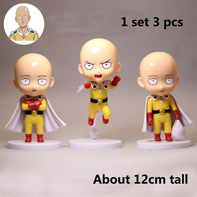 Japan Anime One Punch-Man Saitama Hero PVC Q Version Figure Toy 3pcs 12cm high