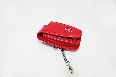 Universal STAR LOGO Red Leather Key Fob Protector Cover For Mercedes Benz Models