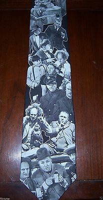 Three Stooges Black And White Classic Neck Tie Ralph Marlin Moe Larry Curly