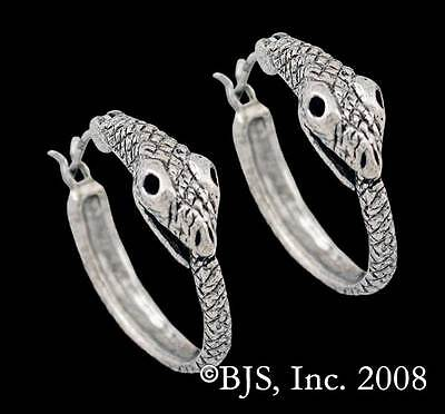Sterling Silver Ouroboros Earrings, Snake Eating Tail Hoop Style, Made in USA