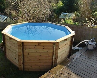 """Plastica Octagonal Wooden Fun Pool 10ft x 48"""" With Sand Filter"""