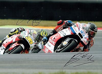 Cal CRUTCHLOW & Scott REDDING SIGNED Autograph 16x12 Photo AFTAL COA Brit Riders
