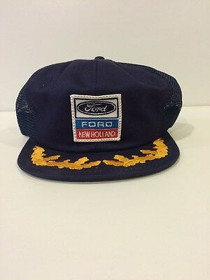 Ford new holland tractor snapback truckers hat cap blue vintage