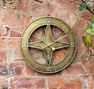 Outdoor indoor Steam Punk Garden Wall Clock 15 inch Nautical home time piece