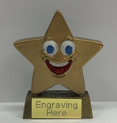 Star Smiley Trophy + FREE Engraving + FREE P&P