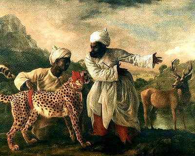 Indian Men With Cheetah & Deer India Painting 8x10 Real Canvas Art Print