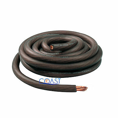 OFC Copper 4214 Strand Count 1/0 0 Gauge Black Power Ground Wire Cable - 5ft