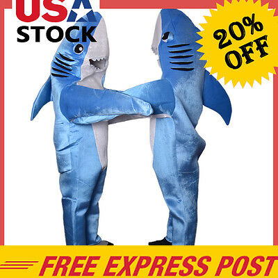 Animal Jumpsuit Shark Costume Mascot Fancy Dress Adult Cosplay Halloween Party *