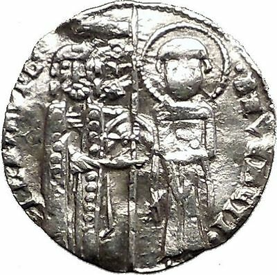 1268AD MEDIEVAL Venice Doge LORENZO TIEPOLO Silver Ancient Coin w CHRIST i57565