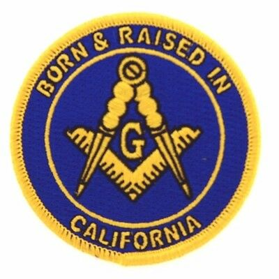 2 Master Mason Born And Raised in California  Masonic Patches