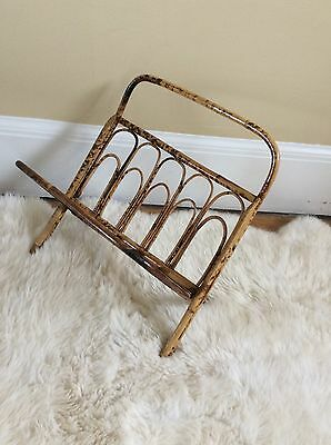 Vintage Antique Asian Tortoise Bamboo Folding Magazine Rack Stand