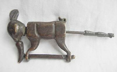 Rare Chinese old style Brass copper carved lovely rabbit Figure lock/key