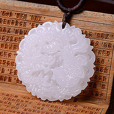New White Chinese Jade Natural Hand Carved Pendant Dragon Phoenix Lucky Amulet