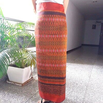 Fabric-Silk-Thai-Mudmee-Authentic-Otop-100%-Tradition-Hand-Woven-Skirt-Dress New