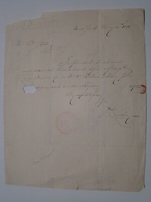 James Ewing Cooley Author Signed Handwritten Correspondance Letter Albany 1835