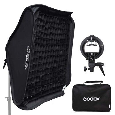 Godox 80x80cm Honeycomb Grid Softbox + S-Type Flash Bracket Bowens Mount Kit
