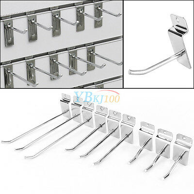 "25x Slatwall Hook Accessory Single Prong Shop Display Hanger 2""/4""/6"" Dia.4.2 mm"