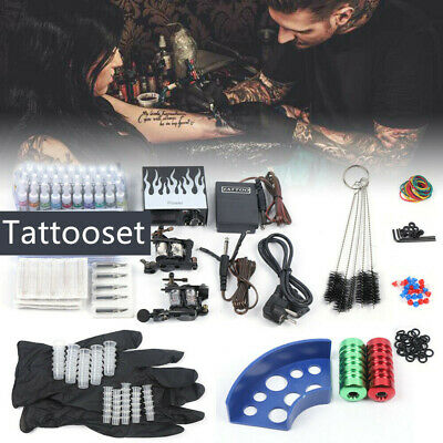 Completi Kit Tatuaggio 2 Macchinetta Tatuaggi Tattoo Machine 40 Ink Supply kit D