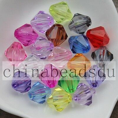 100-1000pcs 4-20MM Acrylic Crystal Faceted Loose Bicone Beads Free Shipping