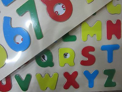 2X Children Kids Wooden Alphabet Learning Letters And Numbers Puzzle Board Fun
