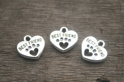 20pcs--Best Friend Charms silver Tone with Heart Dog Paw charm pendants 15x15mm