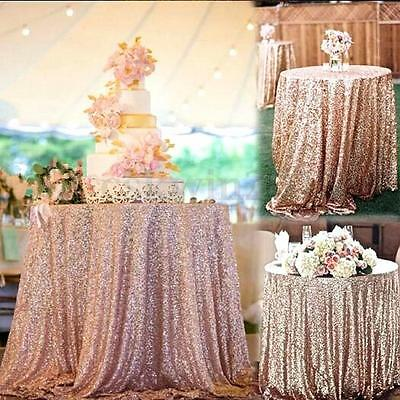 """48""""x72"""" Inch Sparkly Rose Gold Sequin Table Runner Backdrop for Wedding/Birthday"""