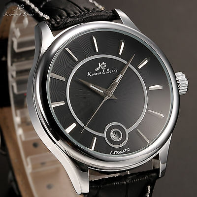 KS Silver Steel Automatic Mechanical Date Black Dial Leather Band Men's Watch P