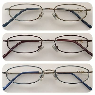 A17 Thin Metal Frame Reading Glasses/Spring Hinges/Lightweight Small Frame