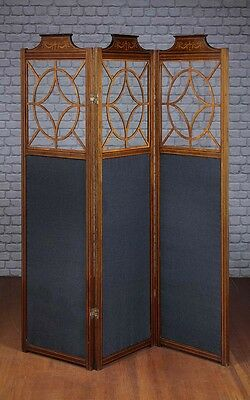 Antique Edwardian Three Panel Screen c.1910.