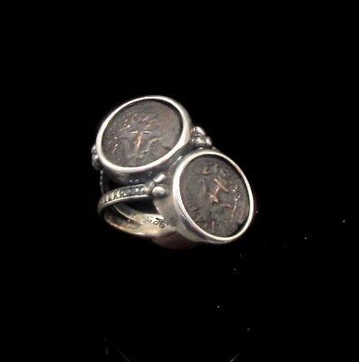 Two Widows Mites Of Alexander Jannaeus Set In Silver Ring