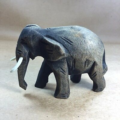 Hand Carved Wood Elephant Figure Sculpture Home Decor Vintage Ancient Style