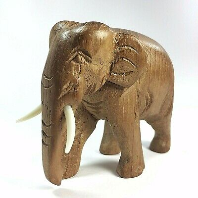 Hand Carved Teak Wood Elephant Figure Sculpture Home Decor Vintage New Style!