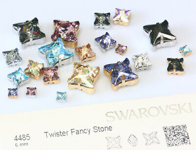 Genuine SWAROVSKI 4485 Twister Crystals with Sew On Metal Settings * Many Colors