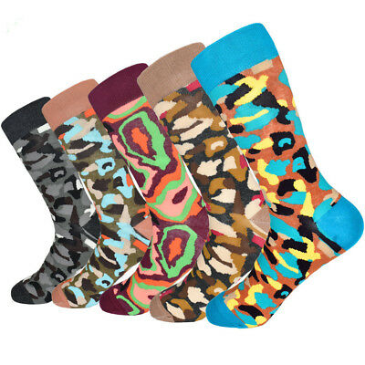 5 Pairs Mens Camouflage Cotton Socks Lot Fashion Camo Casual Dress Socks 9-12