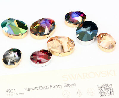 Genuine SWAROVSKI 4921 Kaputt Oval Fancy Crystals with Sew On Metal Settings