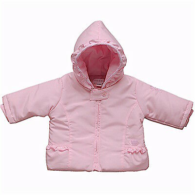Girls Baby Pink Microfibre Lightly Padded Hooded Teddy Jacket 3-6 Month