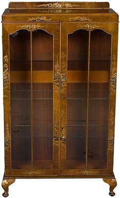 Walnut Antique Style Chinoiserie Bookcase Bookshelf Glass Shelves Painted Wood