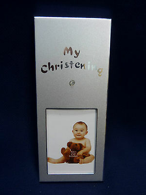 36 Christening/Baptism Diamante Photo Frame Bomboniere Table Place Card Silver