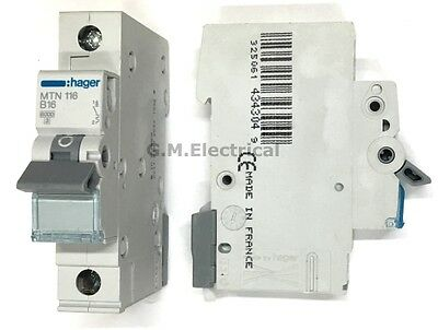 Hager 16 Amp Type B 16A Mcb Circuit Breaker Single Pole Phase Mtn116 Nbn116A
