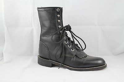 Cowgirl Boots Justin Ladies Black Lace-up Roper Style: L0506; on Clearance