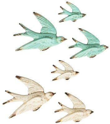 SET OF 3 FLYING SWALLOW WALL DECORATIONS VINTAGE STYLE BIRD CREAM  DUCK EGG ty