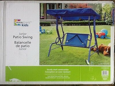 Mainstays Blue Junior Kid Child Patio Swing, Brand New Solid Metal and Canvas