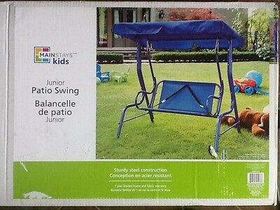Mainstays Blue Junior Patio Swing, Brand New Solid Metal and Canvas