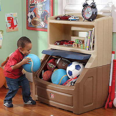 Charmant ... Kids Bookshelf Storage Boys Toy Chest Box W Plastic Brown Tan Play Room  Bedroom
