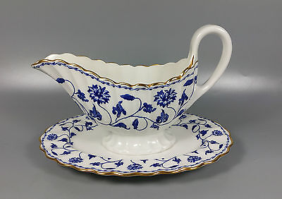 Spode Colonel (Blue) Y6235 Gravy / Sauce Boat And Stand.