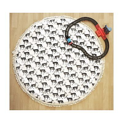 LIGHTLY QUILTED STAG BABY PLAY MAT WITH FRINGE NURSERY RUG Deer And Dot