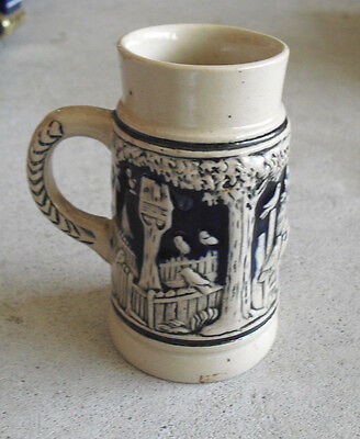 """Small Vintage Germany Stoneware Beer Stein 3 7/8"""" Tall"""