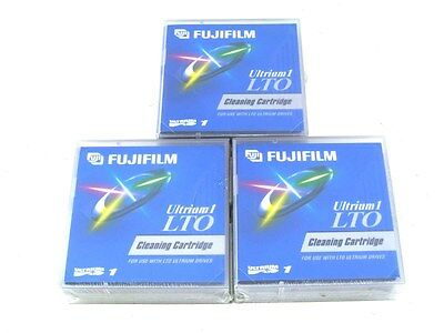 New Sealed! Lot of 3 Fujifilm LTO Ultrium 1 Cleaning Cartridges