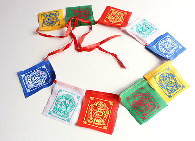 10 Sheets of Cotton Om Mani Padme Hum Small Prayer Flags