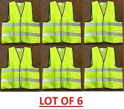 LOT 2 6 24 & 45 Reflective Safety Vest Yellow Strip School Construction Traffic